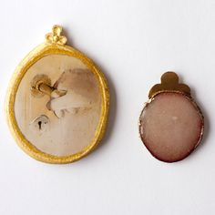 CHARLOTTE MASLOV (BA) - brooches (pair) 2011, gold plated copper, enamel - watercolour, gold leaf, resin, aspen 52 x 37 x 3 mm - 70 x 59 x 5 mm - Sweden, Gothenburg, HDK