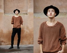 Dr. Denim Chunky Knit, Weekday Trousers, Brett & Sons Chelsea Boots, H&M Fedora Hat