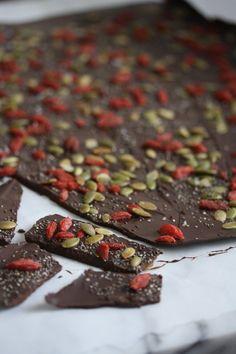 Dark Chocolate Beauty Bark with Chia Seeds, Pepitas, and Goji Berries #ComfortFoodFeast