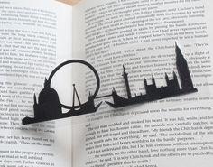 London Skyline papercut Bookmark by ParadisePapercraft on Etsy London Silhouette, Skyline Silhouette, Skyline Tattoo, Tower Bridge London, London Tattoo, London Landmarks, London Skyline, London Art, Book Projects
