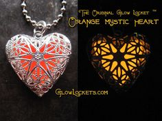 Orange Tangerine Antique Brass Mystic Glow Locket
