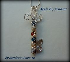 Key Pendant, Agate, wire wrapped, with silver chain. $22.50, via Etsy.  http://www.etsy.com/listing/123637530/key-pendant-agate-wire-wrapped-with?ref=cat_gallery_13