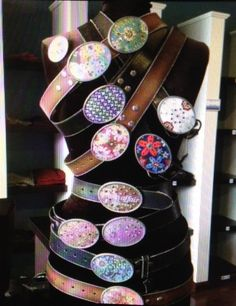 display of belts and buckles