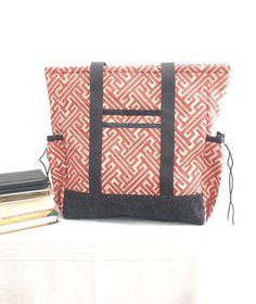 Grand sac cabas avec des poches, professeur fourre-tout, travail fourre-tout, sac à langer, Orange et gris cuisine évier Cabas, Cabas professionnel, continuez