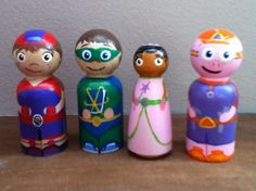 super hero set of peg people