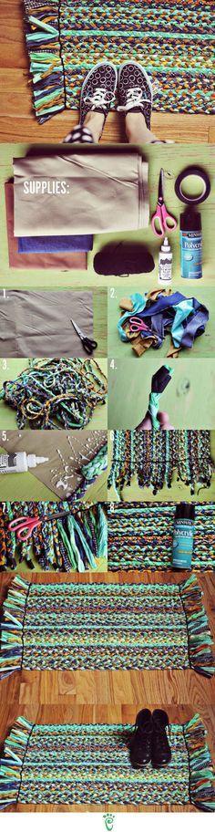 DIY Braided Rug ~ I think I would want mine to be blue denim, red, orange…