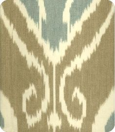 Lewis & Sheron. Bansuri Blue Brown Ikat Fabric in Bramble