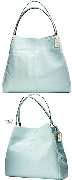 Coach ~ Madison Phoebe Shoulder Bag, Soft Aqua 2015 have this in pink. Coach Handbags, Purses And Handbags, Coach Bags, Coach Purse, Look 2015, Dior, Chanel, Ysl, Givenchy