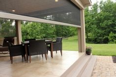 retractable patio screens on the portion of the covered patio due to deer flies & Mosquitos near creek