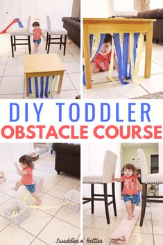 indoor activities High energy, super fun and easy to make activity for toddlers and kids: A DIY obstacle course! This could be an indoor or outdoor games! No prep toddler activities! Toddler Learning Activities, Indoor Activities For Kids, Infant Activities, Rainy Day Activities, Summer Activities, Indoor Games, Outdoor Toddler Activities, Family Activities, Physical Activities For Toddlers