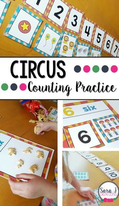 Ideas for using FREE circus themed number cards to practice sequencing, matching and 1 to 1 correspondence for numbers Carnival Activities, Math Activities For Kids, Carnival Themes, Preschool Themes, Preschool Kindergarten, Preschool Circus Theme, Montessori Preschool, Circus Theme Classroom, Circus Crafts
