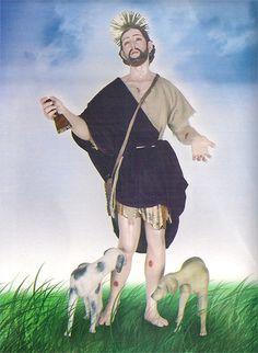 Pintura de San Lázaro como se representa tradicionalmente, con dos perros lamiéndole las heridas. Es un personaje bíblico que aparece en el Nuevo Testamento.