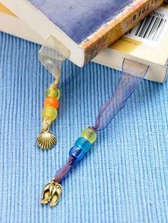 bookmark idea--beaded sheer ribbon
