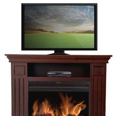 38-INCH TV STAND WITH ELECTRIC FIREPLACE HEATER IN BROWN CHERRY FINISH