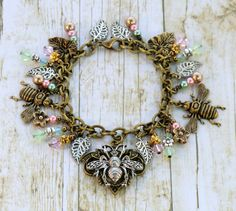 Vintage style bumblebee assemblage cha cha by wilywolverine