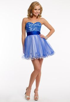 LACE APPLIQUE BODICE SHORT DRESS #homecoming #dresses #shortdress #style #fashion #blue