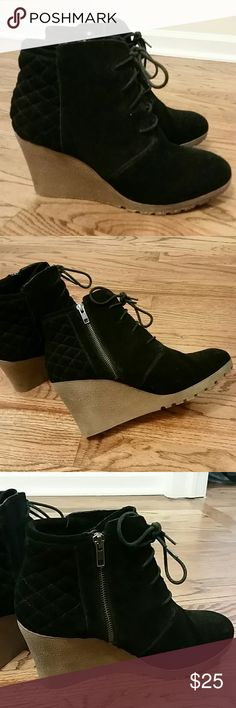 MIA Wedge Bootie Suede lace-up bootie with quilted pattern back.  Side zipper.  3 1/2 inch wedge.   Very light use. Mia Shoes Ankle Boots & Booties