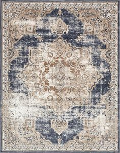 Laurel Foundry Modern Farmhouse Abbeville Power Loom Dark Blue Area Rug Rug Size: Rectangle x Beige Color Palette, Muted Colors, Style Oriental, Oriental Rugs, Farmhouse Rugs, Modern Farmhouse, Farmhouse Style, Modern Cottage, Art Deco
