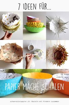 """7 Ideen für Papier mâché Schalen The term """"papier mâché"""" is used to describe most of us soaked newspaper strips or egg carton pomes, which are based on a … Paper Mache Bowls, Paper Mache Sculpture, Paper Bowls, Upcycled Crafts, Fun Crafts, Crafts For Kids, Egg Carton Crafts, Christmas Wood Crafts, Newspaper Crafts"""