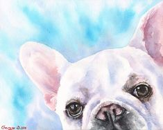 French Bulldog watercolor Print of the Original Watercolor Painting art dog cool #Impressionism