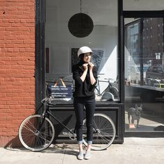I'm very excited to be one of the @levis #commuter ambassadors and getting the chance to represent all the incredible women on bikes out there. Shot by the super talented @loreleiwlsn outside @tokyobike_nyc. #henrythepiggy is totally stealing the show though.