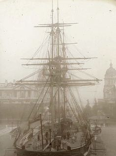 Training ship sitting in the courtyard of the Royal Naval College in Greenwich, c. 1910