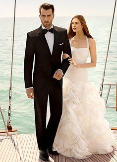 beach wedding tuxedos matching with bridesmaid