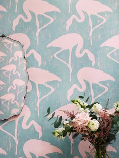 Beautiful flamingo design wallpaper by Sanderson from their Vintage 2 collection.