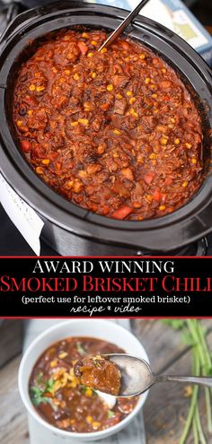 Amazing recipe for Award-Winning Smoked Beef Brisket Chili. The best way to use leftover brisket. Full recipe and video how-to. #brisketchili #bestchili #smokebrisket #leftoverbrisket #chilirecipe #vidulge