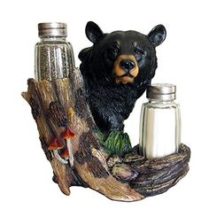 Decorative Black Bear Glass Salt And Pepper Shaker Set With Display Stand  Holder Figurine Sculpture For Rustic Lodge And Cabin Kitchen Table Decor ...