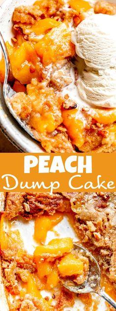Peach Cake Recipes, Dump Cake Recipes, Homemade Cake Mixes, Homemade Desserts, Traditional Easter Desserts, Blog Food, Easy No Bake Desserts, Healthier Desserts, Strawberry Desserts