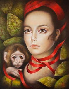 "Beautiful paintings from Bologna based painter and modal logician Erica Calardo at http://www.ericacalardo.com/ ""Frida"", ©Erica Calardo"