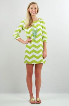 Great Chevron Dress, that you will wear over and over this summer.  Memphis is wearing a Small.