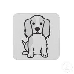 Cavalier King Charles Spaniel Dog Cartoon Coasters