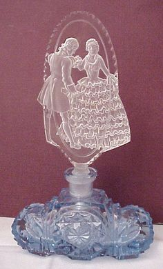 Dancing Couple Figural Stopper Czech Perfume Bottle - Circa 1930