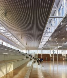 Image 32 of 46 from gallery of Arteixo Sport Center / Jose Ramon Garitaonaindia de Vera. Photograph by Hector Santos-Díez Gymnasium Architecture, Education Architecture, School Architecture, Interior Architecture, Multipurpose Hall, Sports Complex, Roof Structure, Glass Facades, Hall Design