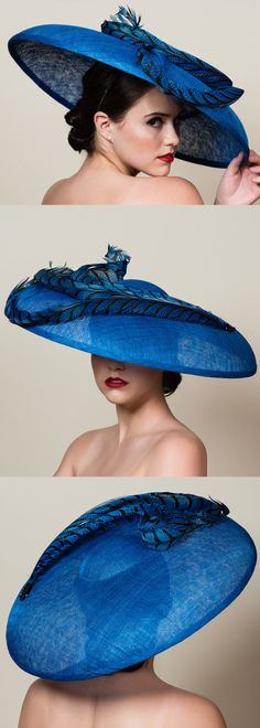 Large Cobalt Sapphire Blue Downturned Pheasant Trimmed hat. Super Super Fun for a spring summer Mother of the bride, or outfit for day at the races, royal ascot, kentucky derby, epsom derby. Aintree, Ascot Ladies Day outfits. Outfit inspiration Day at the Races, weddings. Wedding Outfits #weddings #fashion #racingfashion #kentuckyderby #royalascot #ladiesday #bighats #derbyoutfits #outfits #derbyhats #affiliatelink #outfitideas #weddingguest #passion4hats #racingfashion
