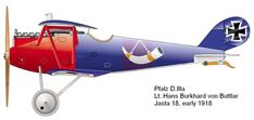 Pfalz D.IIIa Unit: Jasta 18 Serial: unknown Pilot - Lt.Hans Burkhard von Buttlar. Early 1918.   This machine was flown by several different ...