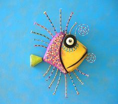 Golden Angelfish MADE to ORDER Original Found by FigJamStudio