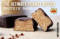 The Ultimate Peanut Butter Protein Bars - defatted peanut flour, vanilla whey protein powder, cartoned coconut/almond milk, ground almonds, coconut flour, dark chocolate (use sugar-free)