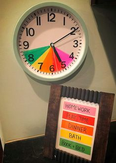 We went ahead and made one of this for the start of the school year! Plus it helps teach kids how to read a real clock :) Kids Routine Chart, Clock For Kids, Kids Schedule, Chore Chart Kids, Charts For Kids, Future Mom, Baby Kind, Raising Kids, Toddler Activities