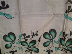 74x23 Cream Indian Tussar Silk Scarf Hand Painted Butterfly and Floral Long Scarf (J13805). $28.99, via Etsy.