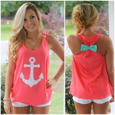 Coral anchor tank! That bow just made the whole piece! So girly!
