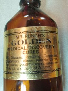 MR. PUNCH'S Golden Medical Discovery Cures Novelty bottle Dyspepsia puppeteers elbow swazzle throat fast pulse youthful errors trots kitschy by kookykitsch on Etsy