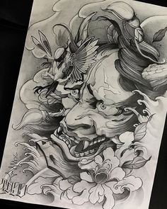 Japanese Demon Oni Mask Tattoo Design