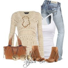 Jeans look with brown Fringe Boots - great casual outfit!