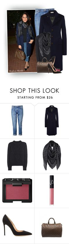 """""""Meghan Markle"""" by hollowpoint-smile ❤ liked on Polyvore featuring Whistles, Balenciaga, Isabel Marant, Louis Vuitton, NARS Cosmetics and Gianvito Rossi"""