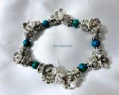 Flowerchild Turquoise Stretch Bracelet by damalijewelry on Etsy