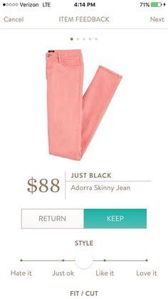 Stitch Fix Like: Just Black Adorra Skinny Jean in peach/soft coral