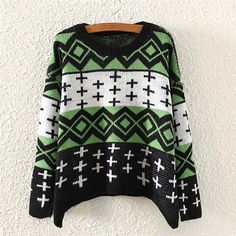 Blue Casual Geometrical Print Crew Neck Loose Patchwork Pullover Polyester Jumper-ST0230143-2